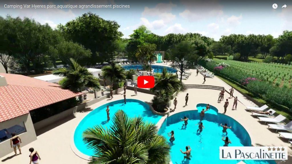 Agrandissement des piscines du parc aquatique au camping dans le Var