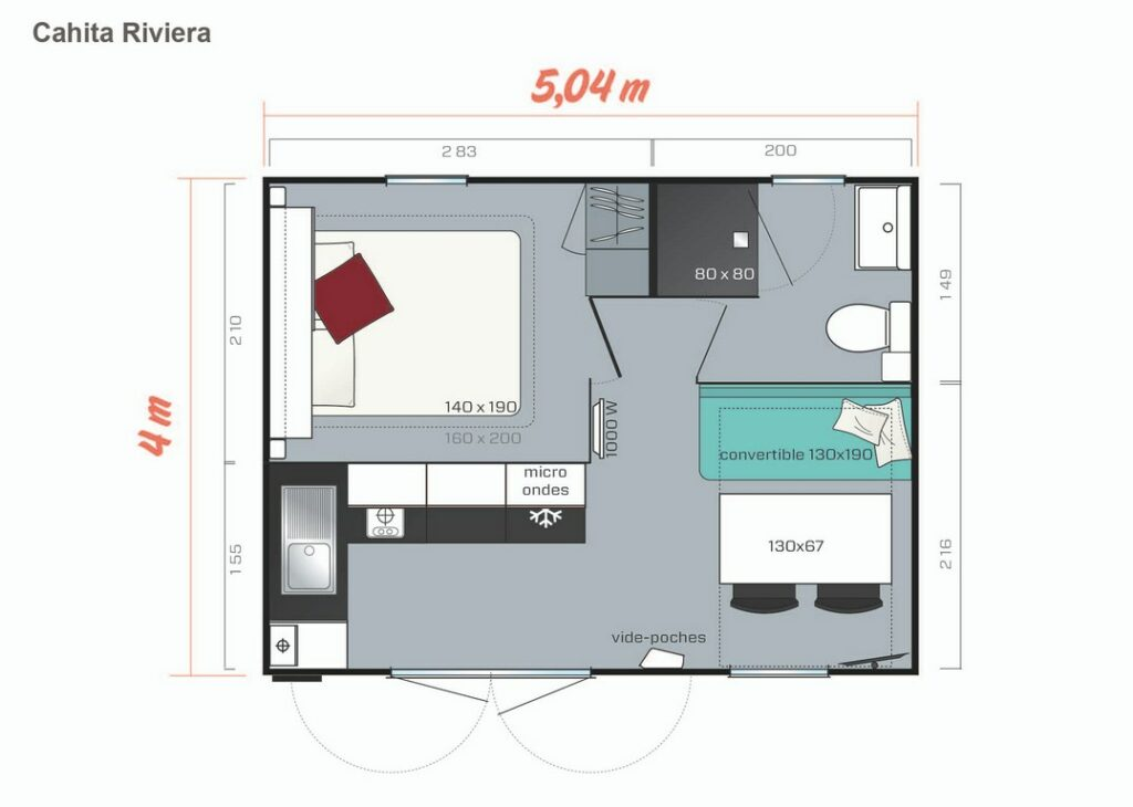 Plan Mobile-home Privilège® Standing 1 chambre 2/3 personnes
