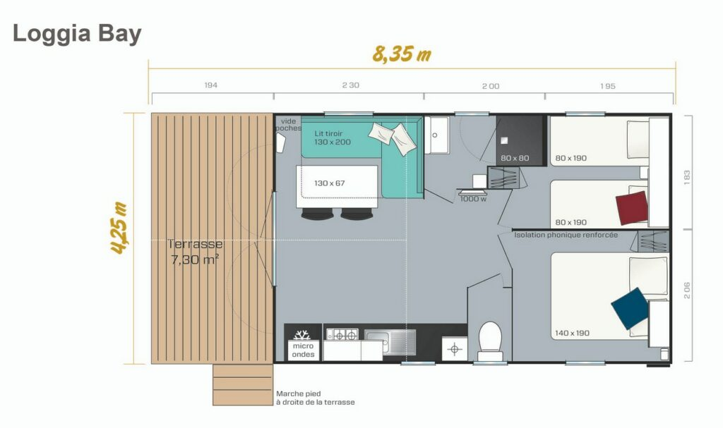 Plan Mobile-home Privilège® Standing 2 chambres 4 personnes