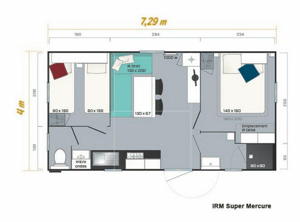 Plan Mobile-home Avantage® Climatisé 2 chambres 4/6 personnes