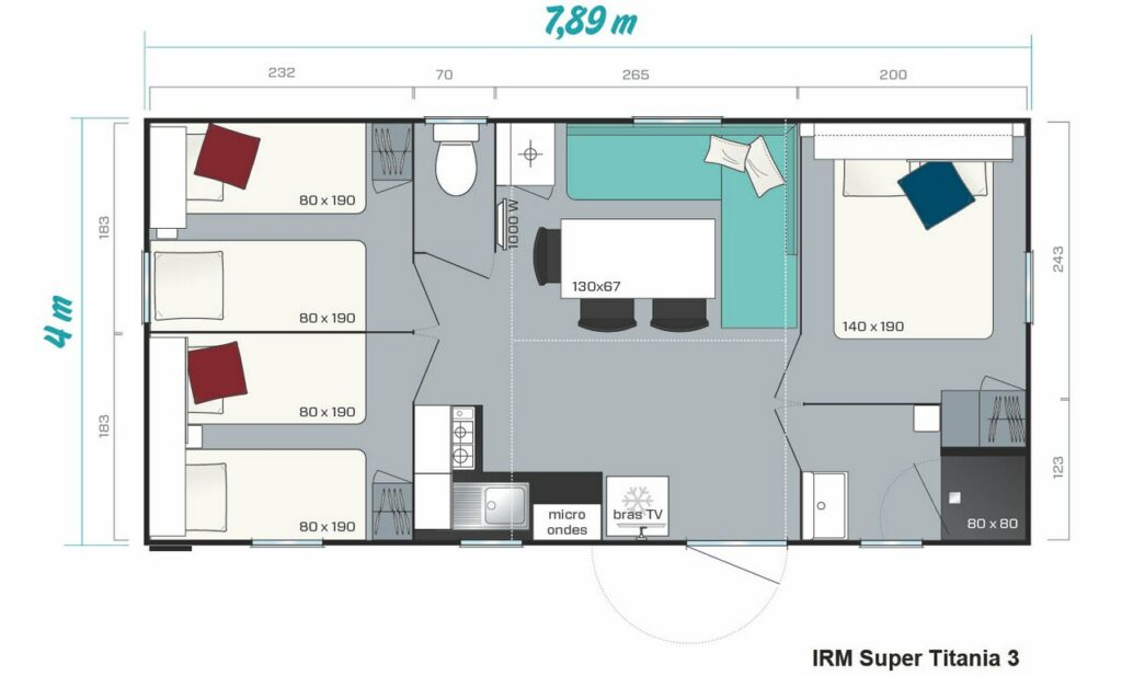 Plan Mobile-home Avantage® Climatisé 3 chambres 6 personnes