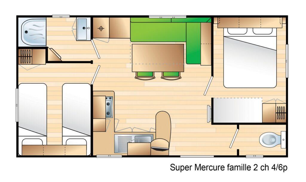 Plan Mobile-home Classique® 2 chambres 4/6 personnes