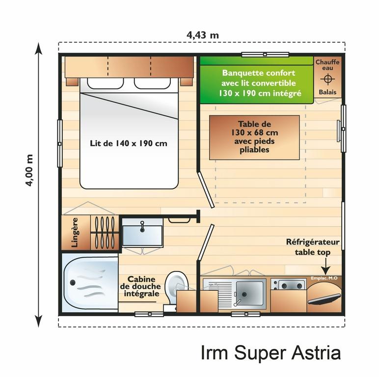 Plan Mobile-home Classique® 1 chambre 2/3 personnes