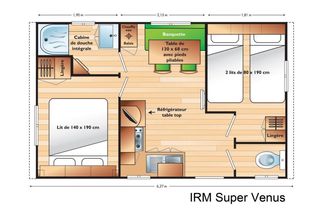 Plan Mobile-home Classique® 2 chambres 4 personnes
