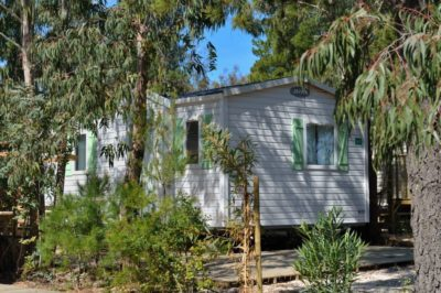 Mobile-home dans la nature du camping