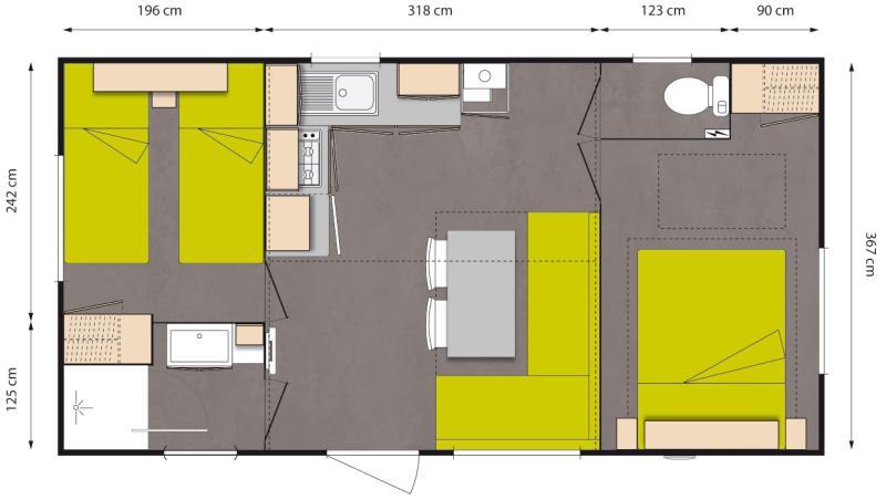 Plan Mobile-home Avantage® Climatisé 2 chambres 4 personnes