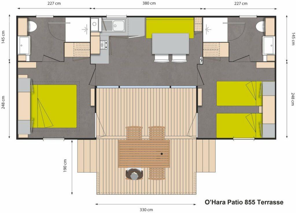 Plan Mobile-home Patio® Premium 2 chambres 4 personnes