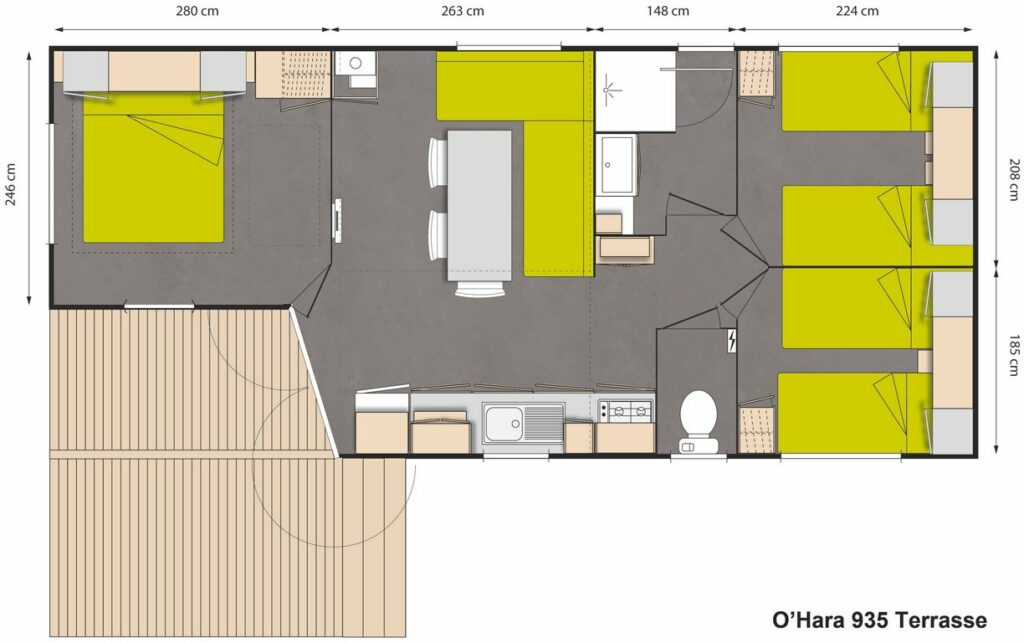 Plan Mobile-home Privilège® Standing 3 chambres 6 personnes