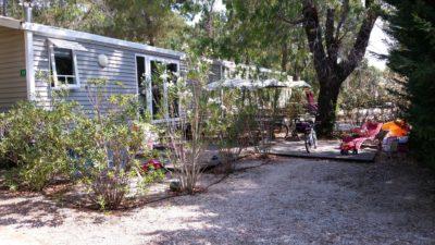 Location de mobile-home pour 4 à 6 personnes en camping dans la pinède