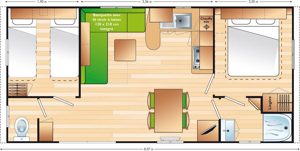 Plan Mobile-home Avantage® 2 chambres 4 personnes