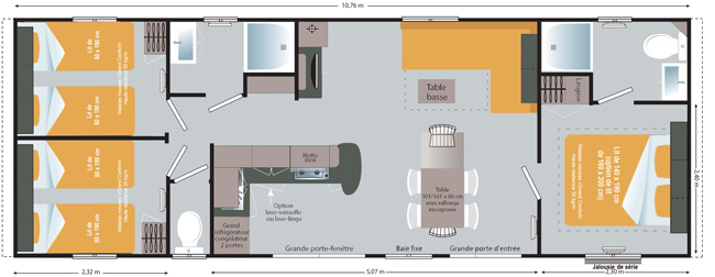 Plan Mobile-home Patio® 3 chambres 6 personnes