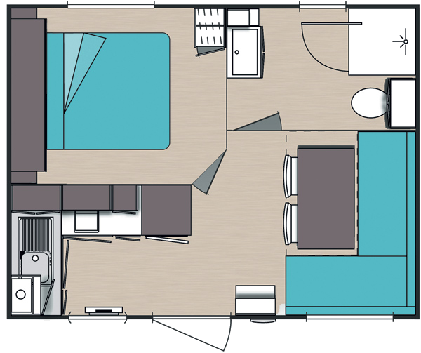 Plan Mobile-home Privilège® 1 chambre 2/3 personnes
