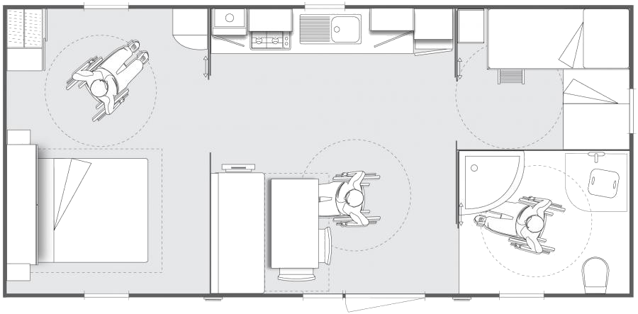 Plan Mobile-home Privilège® PMR 2 chambres 4/5 personnes