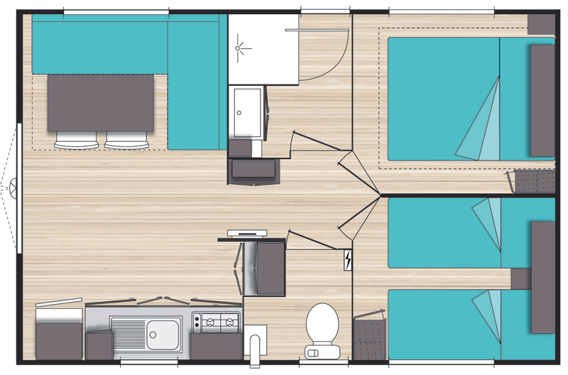 Plan Mobile-home Privilège® 2 chambres 4 personnes