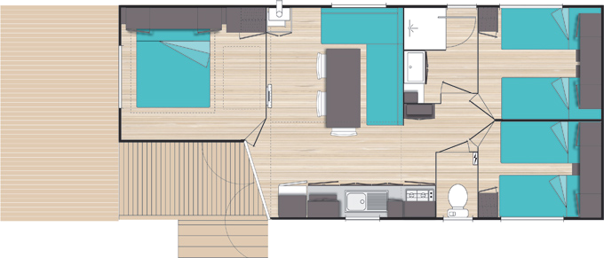 Plan Mobile-home Privilège® 3 chambres 6 personnes